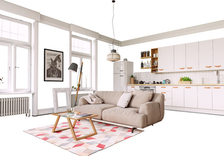 Isolated home interior furniture and decor. 3d illustration concept