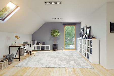 Intérieur de la chambre mansardée moderne. Concept de rendu 3D.