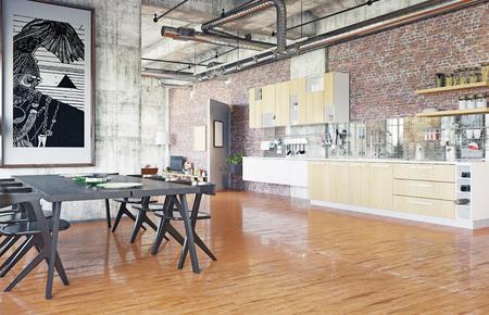 modern loft. kitchen zone concept. 3D rendering concept Banque d'images