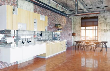 modern loft. kitchen zone concept. 3D rendering concept Stock Photo