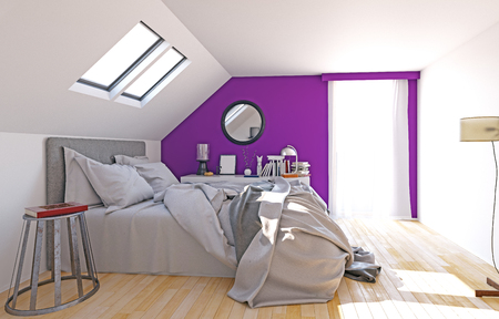 modern attic bedroom interior, 3d render concept Stockfoto
