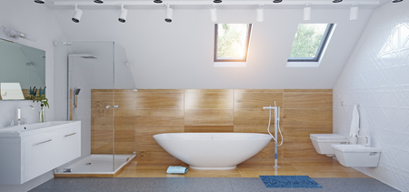 Modern attic Bathroom interior. 3d illustration concept