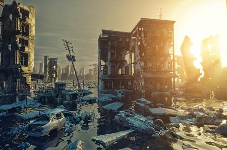Apocalipsis inundaciones vista de la ciudad puesta de sol. Concepto de renderizado 3d