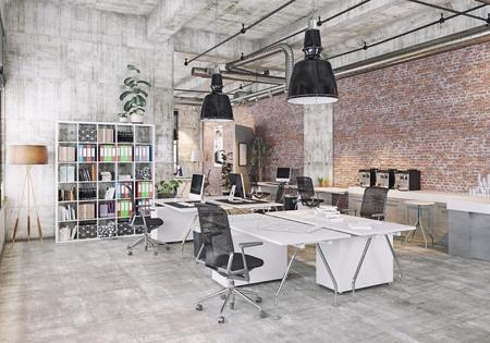 modern  loft office . 3d rendering concept Stock Photo