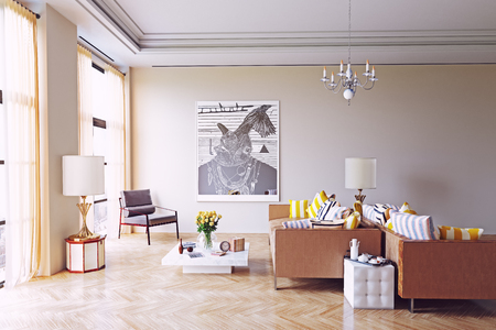 modern living room design. 3d rendering concept Stock Photo