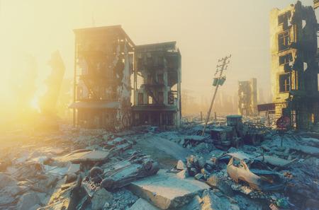 Atardecer de vista de la ciudad de Apocalipsis. Concepto de renderizado 3d Foto de archivo