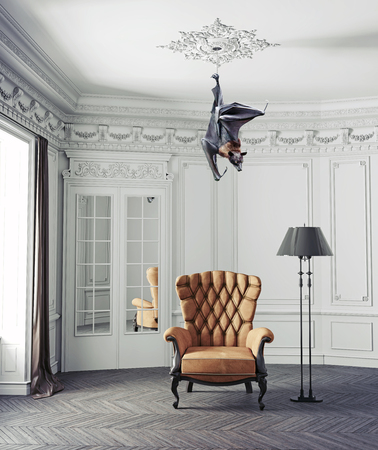 The Bat as a ceiling lamp. Photo and 3d elements combinated creative illustration