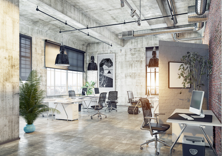 modern coworking loft office . 3d rendering concept 스톡 콘텐츠