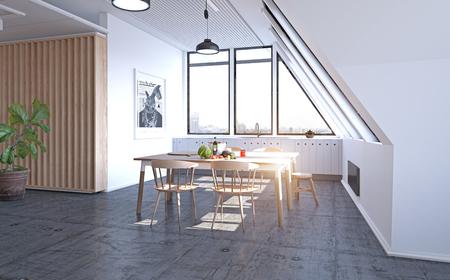 modern loft attic kitchen design concept. 3d rendering illustration
