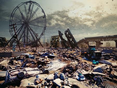 Apokalypse Landschaft. 3D-Rendering-Konzept