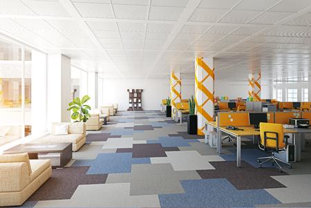 interno di ufficio moderno. Concetto di rendering 3D