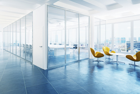 modern office conference room interior. 3d rendering concept Archivio Fotografico
