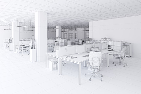 modern  office interior mesh sketch style. 3d rendering concept
