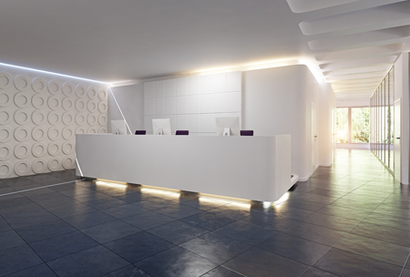 modern reception desk design. 3d rendering concept