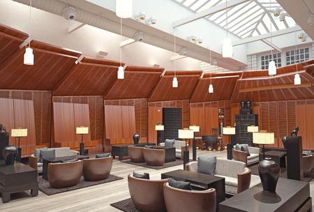modernes Lobby-Restaurant-Interieur. 3D-Rendering-Konzept Standard-Bild