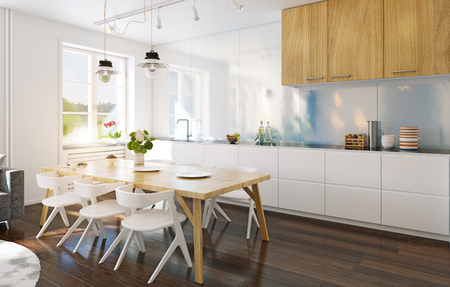 modern kitchen interior. 3d rendering design concept Stock Photo