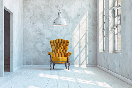 vintage wall with armchair. 3d rendering concept