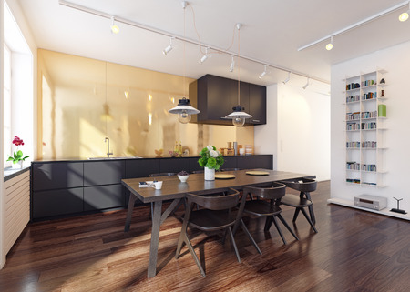 Modern kitchen interior 3d rendering. Contemporary design concept