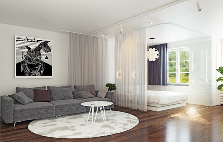 Glass wall bed zone in the studio interior. 3d concept rendering Imagens - 105254896