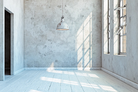 vintage wall with lamp. 3d rendering concept 写真素材