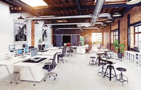 modernes Loft-Interieur. 3D-Rendering-Konzept