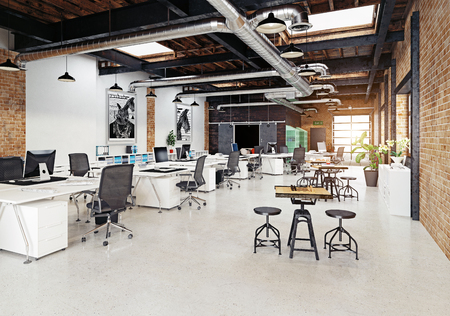 modernes Loft Büro Interieur. 3D-Rendering-Konzept