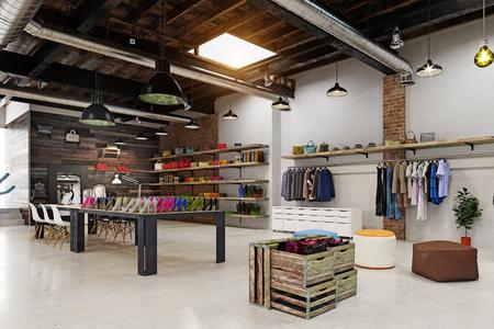 nowoczesny butikowy projekt wnętrza loftu. Renderowanie 3d