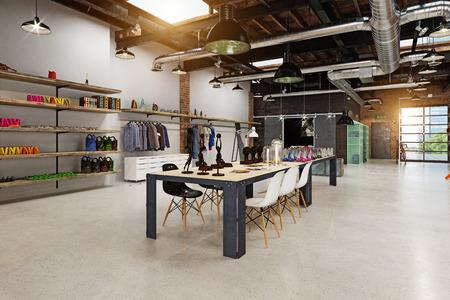 modern boutique interior loft design. 3d rendering Stok Fotoğraf