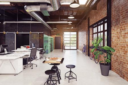 modernes Loft-Interieur. 3D-Rendering-Konzept Standard-Bild