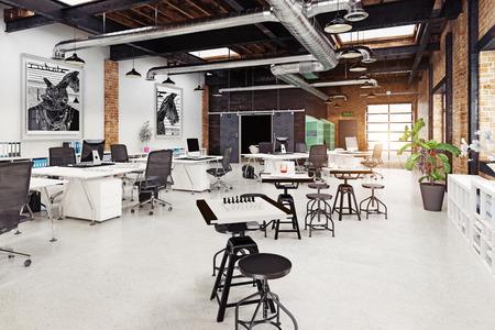 interni moderni loft. Concetto di rendering 3D