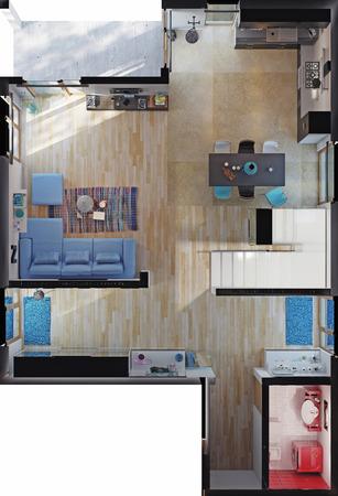 modern huis kamers bovenaanzicht. 3D-weergave Stockfoto