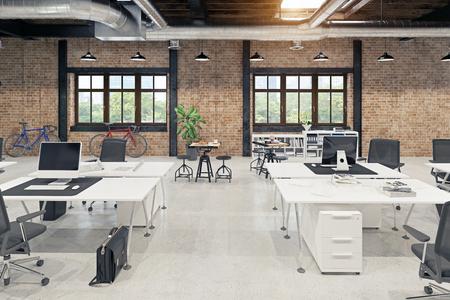 interior de oficina loft moderno. Concepto de renderizado 3d