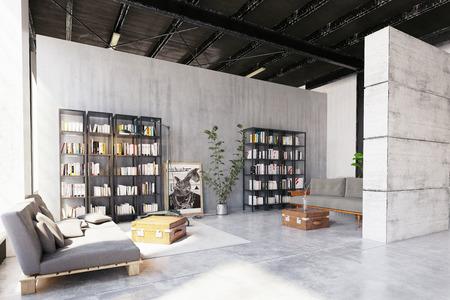 modern loft lving room. 3d rendering design concept Archivio Fotografico