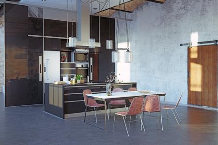modernes loft kücheninterieur. 3D-Rendering-Designprojekt