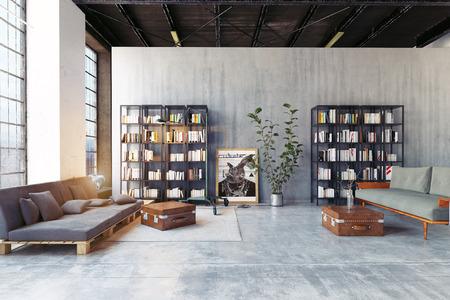 modernes Loft-Wohnzimmer. 3D-Rendering-Designkonzept