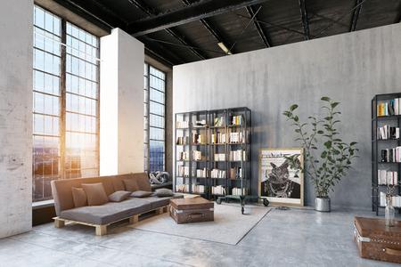 modernes Loft-Wohnzimmer. 3D-Rendering-Designkonzept Standard-Bild