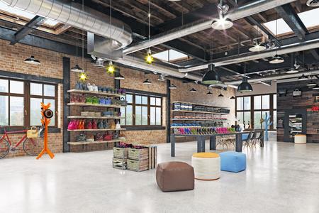 modern boutique interior loft design. 3d rendering Stock Photo