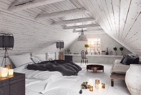 modern attic bedroom design. 3d rendering interior concept