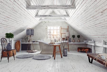 modern attic white bathroom interior. 3d rendering design concept Stock Photo