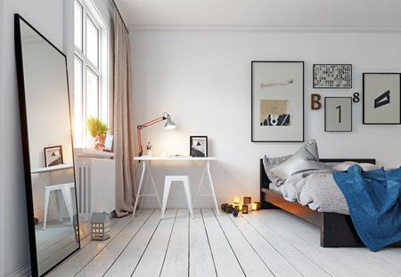 modern bedroom interior. 3d rendering design concept