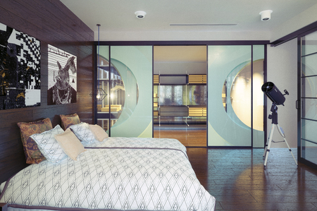 modern bedroom interior. 3d rendering design concept. Banque d'images