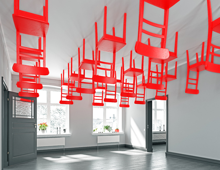 las filas de sillas rojas voladoras de la habitación. Concepto de interior de renderizado 3D Foto de archivo