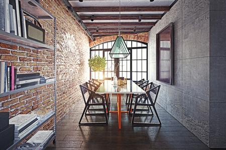 modern loft  dining room interior. 3d rendering design concept