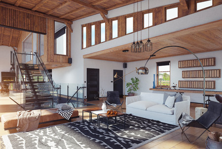 modern chalet interior. 3d rendering design concept Stock Photo