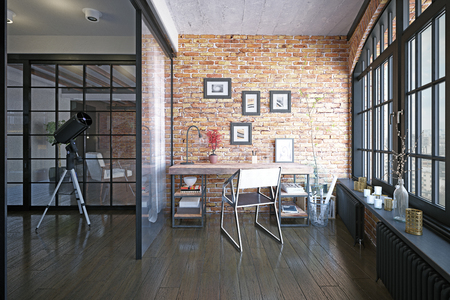 modern loft study interior. 3d rendering drsign project 写真素材