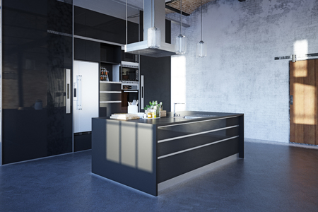 modern loft kitchen interior. 3d rendering design project