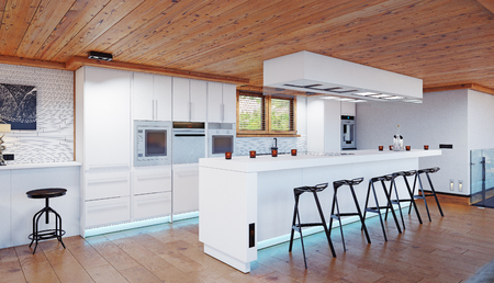 modern chalet kitchen interior. 3d design rendering concept
