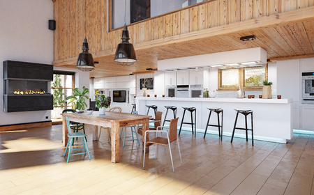 modern chalet interior. 3d design rendering concept Stock Photo