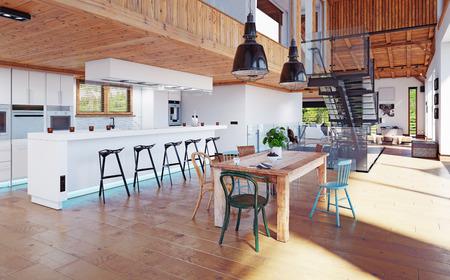 modern chalet interior. 3d design rendering concept Archivio Fotografico - 108406658