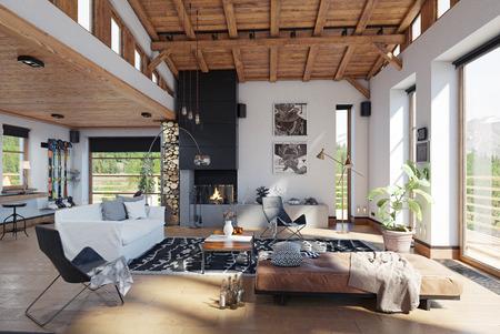 interni moderni chalet. Concetto di design rendering 3D